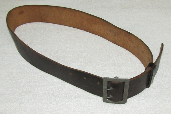 Third Reich Officer's Black Leather Belt With Pebbled Buckle-1939 Dated