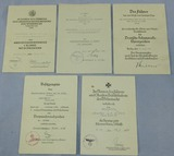 5pc WW2 Nazi Soldier Medal/Badge Award Document Grouping