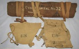 3pcs- WW1 U.S. Doughboy AEF Hospital Canvas Roll-Named W/Unit Markings.U.S. Pack and Tail Bag.