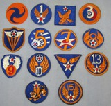 14pcs-WWII Period U.S. Army Air Forces Patches-Cut Edge-Some Scrapbook Removed