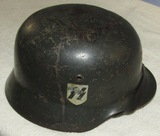 WW2 Double Decal Waffen SS M35 Helmet With Chin Strap/Liner-Named! Q66-Combat Worn Example