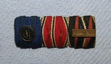Scarce WW2 Period 3 Place Ribbon Bar-SS 4 Year Service W/Device-Austrian & Czech Annex Ribbons