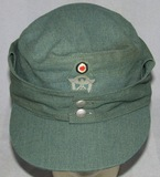 Late War WW2 Nazi Police Summer Weight M43 Type Field Cap For Enlisted-RBNr'ed And Dated 1944