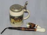 2pcs-Porcelain Hunting Stein And Pipe