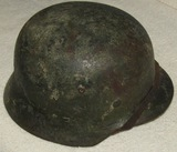 WW2 Period M35 Zimmerit Camo Helmet With Liner/Chin Strap-1939 Dated Dome Stamp
