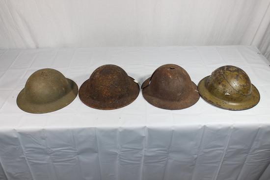 Lot of 4 US WW1 Helmet Shells. 2 Are Ground Dug.