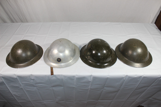 Lot of 4 US WW1 Helmet Shells. 1 Chrome American Legion