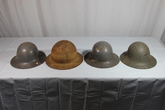 Lot of 3 WW2 British Civil Defense Zuckerman Helmets & 1 US Civil Defense Helmet