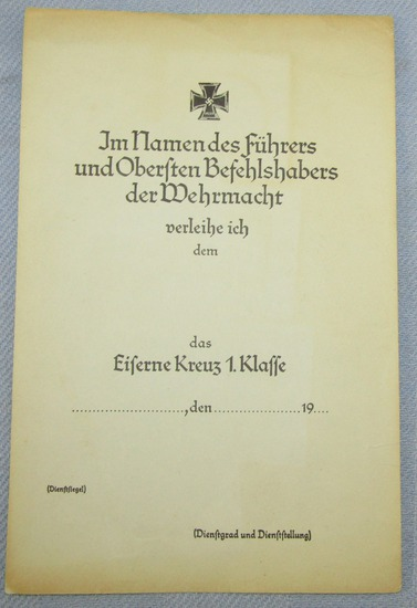 German Soldier Award Document For The Iron Cross 1st Class