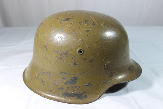 WW2 German SA  Troops Camo Finish M42 Helmet W/ Size 59 Liner.