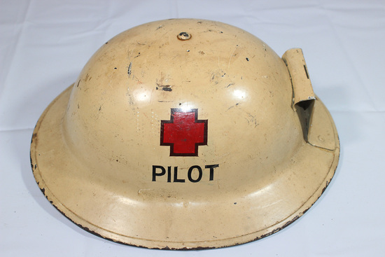 WW1 Era helmet W/ Painted Pilot Insignia and Front Bracket.