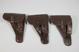 Lot of 3 Late War WW2 German Browning Hi-Power Holsters. All CLG 44. 1 Waffenampt.