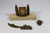 Trench Art Lot. 3 Pieces. Card Holder. Hat. Knife Blank