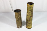 Trench Art Lot. 2 Pieces. Shell Casings. Guitar Player & Flowers.