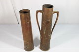 Trench Art Lot. 2 Pieces. Shell Casing & Handled Vase.