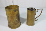 Trench Art Lot. 2 Pieces. Large Shell Casing & Handled Mug.