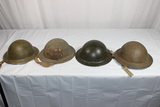 Lot of 4 WW2 British Helmets. All W/ Liners. Good Condition.