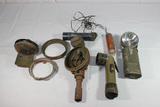 Lot of 7 Pieces Military Lamps. Jeep. Flashlights. Etc.