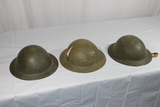 Lot of 3 Unknown WW2 Style British Helmets. 1 Painted. Unusual Liners