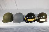 Lot of 4 US Vietnam M1 Helmet Liners. Some W/ Decals. Nice Navy Liner.