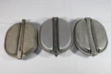 3 US WW2 Mess Kits. 1 W/ WW1 Bottom. No Contents.