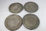 Lot of 4 US Civil War Era Heavy Tin Mess Plates. Maker Marked.