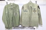 2 US Vietnam Era Sateen Shirts. Seabee & 2nd Infantry Airborne Pathfinder.
