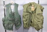 Lot of 2 US Vietnam Vests. 1970 Dated Survival Vest & 1968 Dated Flak Vest Cover.