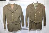 Lot of 2 US WW2 Chocolate Brown Army Officer Dress Jackets. Bullion Colonel Rank.