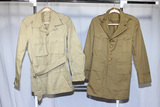 2 US WW2 Era Khaki Army Officer's Jackets. 1 Prewar. Both Cotton.