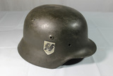 WW2 German Double Decal M40 SS Helmet Shell. Reenactor Piece