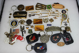 Miscellaneous Insignia Lot. Key Chains, Buckles, Stickpins, Sweetheart, Etc. 55+ Pieces.