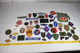 51 Pieces of Mostly US Patches. WW1 Through Vietnam. Some Theater Made. Some Stickers.