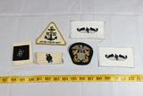 6 Various Navy Patches. Submarine & Bullion Cap Badge.