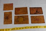 6 Pieces of US WW2 Leather Post Cards. Mostly Filled Out. Rare.