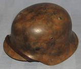 WW2 German Luftwaffe Single Decal M42 Camo Helmet W/Liner/Chin Strap