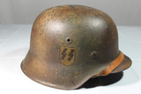 WW2 German Single Decal M42 SS Normandy Camo Helmet. Reenactor Or Place Filler. Nice Look!