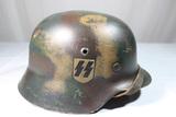 WW2 German Double Decal M35 SS Normandy Camo Helmet.  Reenactor Piece.