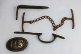 US Civil War Lot. Musket Parts, Handcuffs. Repro Buckle.