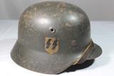WW2 German Single Decal M40 SS Reenactor Helmet.