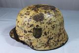 WW2 German Snow Camo Double Decal M35 Army Helmet Named. Reenactor Piece. Great Look!