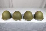 Lot of 4 Cold War Russian SSh-40 Steel Combat Helmets