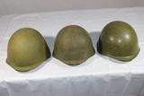 Lot of 3 Cold War Russian SSh-40 Helmets. 1940's