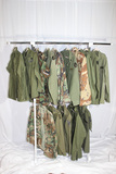 Lot of 15 US Vietnam War & Later Green and Camo Shirts & Jackets.
