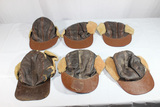 Lot of 6 US WW2 Leather Shearling B-2 Air Crew Caps.