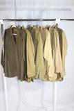 Lot of 6 US WW2 Wool Officer's Dress Shirts.  1 Really Nice Chocolate Brown Shirt.