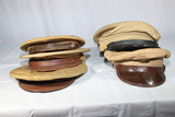 Lot of 6 US WW2 Era Army Khaki Enlisted Visor Caps.