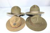 Lot of 4 US WW2 & Earlier Campaign Hats. 1 USMC W/ EGA. Moth Damage.
