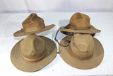 Lot of 4 US WW1 & Earlier Campaign Hats. 2 Nice Early Ones!