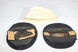 3 US WW2 Navy Hats. 2 Donald Duck Caps & 1 Named Dixie Cup Hat.